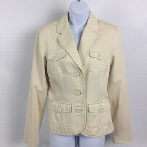 Tommy Hilfiger Fitted Blazer Ivory Cream Lined